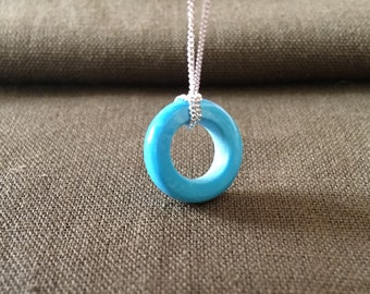 Turquoise Necklace, Turquoise Ring Necklace, Washer Necklace, Gift for her, Simple Turquoise Necklace, Circle Necklace,Silver chain necklace