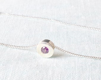Best Friend Birthday gift, Silver Round Necklace, Silver pendant studded with Purple Cubic Zirconia, Gift for Friend Necklace, birthstone