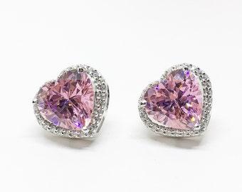 Romantic Pink Heart Earrings, Sterling Silver Earrings, Pink Swarovski Earring, Valentine Gift For Her, Heart Earrings, Pink Statement Studs