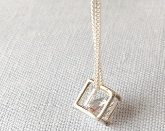 Cube pendant, Floating Cubic Zirconia in Sterling silver Cube, Dainty Pendant, Bridesmaid, Gift for daughter, Cubic Zirconia Silver pendant