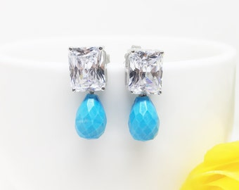 Diamond Turquoise Earrings, Man Made Diamond Simulant, Sterling Silver Turquoise Drop Earrings, CZ Stud, Emerald cut Diamond, Gift for Bride