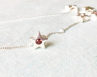 925 Sterling Silver Star Pendant Necklace with Garnet Simulant January Birthday Gift for Family, Cousin, Soul Sister, Best friend, Coworker