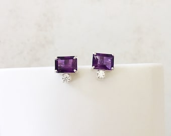 Sterling Silver Natural Purple Amethyst Solitaire stud Earring, Round Cubic Zirconia Earring Gift for Her, Daughter-in-law Amethyst Earrings