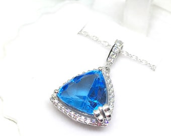 5CT Triilion Triangle Swiss Blue Topaz Unique Sterling Silver Statement Butterfly Prong Pendant Necklace Wedding gift for Daughter Sister