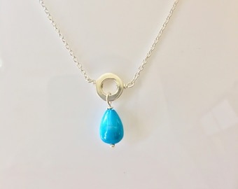 Silver Necklace, Turquoise Drop Necklace, 925 Sterling Silver Ring Necklace, Dangle, Gift for Mom, Sister, Anniversary, Bridesmaid, Daughter