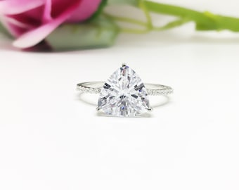 Triangle Ring, 6ct Trillion Solitaire Ring, Sterling Silver Diamond CZ Ring, 10mm Trillion Engagement Ring, White Gold Rhodium Half Eternity