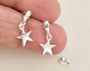 Star Earring, Sterling Silver Earring, Long Earring, Gift for daughter, Graduation, Celestial, Star Stud earring, Dangle Earring, Bridesmaid