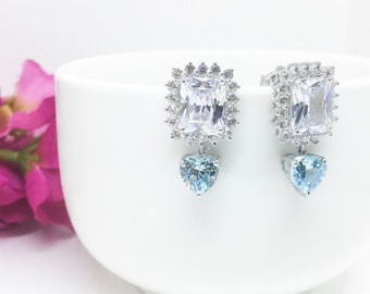 Aquamarine Simulant Heart Square Emerald Cut Swarovski dangle Wedding Bridal Chandelier Earring, March Birthstone Earring Gift for her