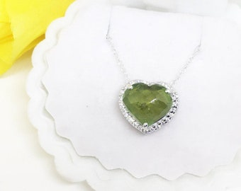 Natural Halo Green Tourmaline Briolette Heart Sterling Silver Once upon a time Wicked Witch Helena inspired Pendant Necklace Gift for her