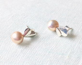Pale Pink freshwater Pearl Sterling Silver Stud Push back earring Gift for her Handmade Earring Birthday baby shower bridal shower Weddings