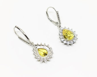 Lever back Yellow Pear Earring, Yellow Canary Diamond Simulant, Handmade Classic Yellow Cubic Zirconia CZ Teardrop Dangle Earring, Valentine