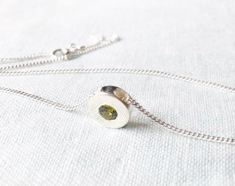 Mom Gift From Daughter Necklace, Silver Round Necklace, Green Cubic Zirconia, Mother's Day Gift, Gift for Mom, Mom Necklace, Mother Necklace