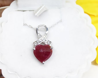 Natural RUBY Briolette Heart and Cubic Zirconia Sterling Silver Pendant Necklace Girlfriend gift Bachelorette Party Anniversary for Wife Her