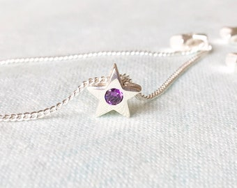 Simple 925 Sterling Silver Star Pendant Necklace with Amethyst Simulant February birthday Gift for Girlfriend Best friend Grandmother Mother