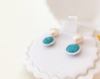 Freshwater Pearl Round Briolette Turquoise Bezel Setting Sterling Silver Earring, Bridesmaid Earring Gift for her, Birthstone December June
