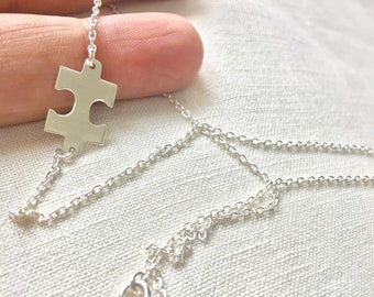 Silver Puzzle Necklace, 925 Sterling Silver Puzzle Necklace, Friendship Necklace, Autism Necklace, Best friend gift, Everyday simple Jewelry