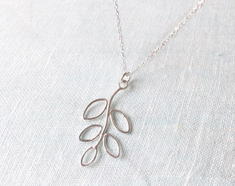 """Leaf Sterling silver necklace, 925 Silver Pendant, Casual necklace, Nature pendant, 18"""" Sterling silver chain, Delicate jewellery minimal"""
