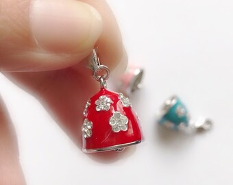 Sterling Silver Bell Charm, Christmas Gift for Children, Red Enamelled Bell Studded with Cubic Zirconia, Bracelet, Keychain, Zipper Charm