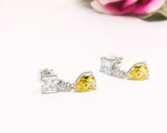 Yellow teardrop Diamond CZ Earrings, Sterling Silver Earrings, Princess cut diamond simualnt, Beauty and the Beast inspired Earrings, Bridal