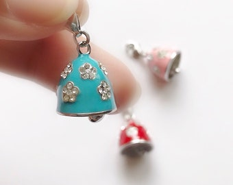 Sterling Silver Bell Charm, Christmas Gift for Teen Girls Daughter Blue Enamelled Bell Studded with Cubic Zirconia, Bracelet Keychain Charm