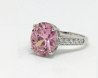 Sterling Silver Pink Oval Diamond Simulant Solitaire Engagement Statement Vintage Large Stone Ring For Women, Anniversary Pink SApphire Gift