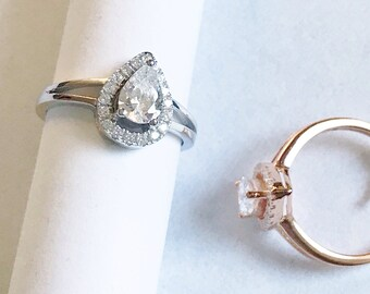 Sterling Silver Halo Pear Solitaire Split Shank studded with Diamond Simulant Promise Statement Engagement Ring Bridal White and Yellow Gold