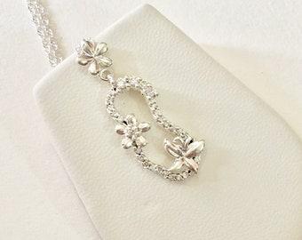 Floral Pendant, Bridesmaid Necklace, 925 Sterling Silver Pendant, Silver Butterfly Pendant, Silver Cubic Zirconia Pendant, Wedding Necklace
