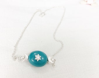 Turquoise Necklace, Star Necklace, 925 Sterling Silver Star Necklace with Cubic Zirconia, Moon Silver Necklace, Gift for her, Bridesmaid