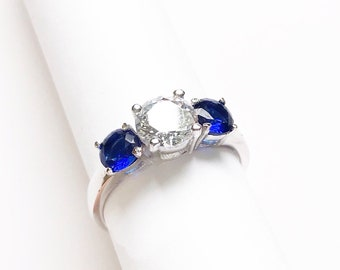 Engagement Trinity 3 stone Diamond Simulated Past present future Classic Vintage Blue Stone 925 Sterling Silver Wedding Promise Ring for her