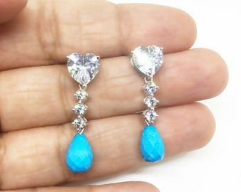 Dangle Turquoise drop & Diamond Simulant Heart earring Wedding Gift for bride to be Birthday Valentine Gift for Girlfriend Wife Anniversary