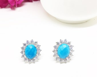 Turquoise Blue Sterling silver 7.50 cts Briolette Turquoise Victorian style Halo Earrings Wedding Anniversary Gift for Mother Sister in law