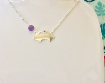 Mini Copper Car Amethyst Bead Sterling Silver Racing Car February Birthstone Necklace gift for car lovers racer little sister homecoming