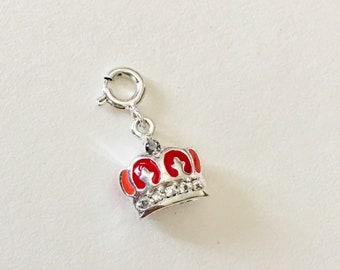 Crown Charm, Sterling Silver Red and orange Enamelled Crown studded with Cubic Zirconia, Grandmother gift Birthday, Zipper pull, Bracelet