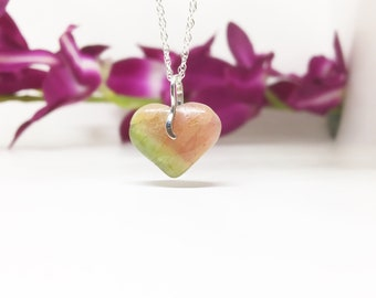 11.50 ct Natural Tricolour Watermelon Tourmaline Heart with 925 Sterling Silver Loop Pendant Necklace Handmade Valentine Gift for Girlfriend