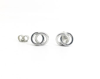 Mother Daughter Gift Earrings, Mother's Day Gift, Gifts for Mom, Mom Earrings, 2 Interlocking Circles, Sterling Silver interlocking circles