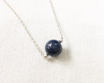 Real Blue sapphire ball necklace sapphire necklace, bridal necklace, wedding gift, anniversary gift, silver ball necklace, bridesmaid