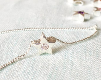 April Birthday Gift - Simple 925 Sterling Silver Star Pendant Necklace with Diamond Simulant, Gift for daughter sister Best friend birthday