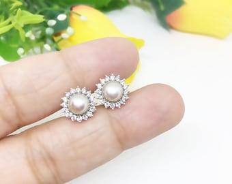 Pearl Cluster Earrings, Sterling Silver Earrings, Pearl Stud Earrings, Gift for MOM, Diamond Simulant 6mm Pearl Cluster Earrings, Bridesmaid