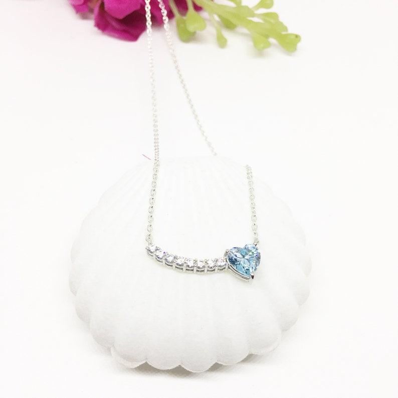Heart Bar Necklace Aqua heart pendant necklace Aquamarine Simulant Sterling Silver Heart Necklace Bridal Necklace blue Heart Necklace