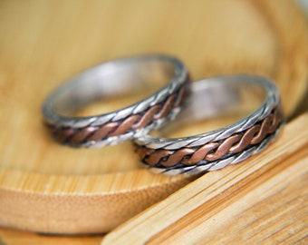 Fidget Ring Hammered Spinner Ring Hand Hammered Silver Spinner Ring Bi-Metal Spinner Personalized Ring Personalized Spinner Rings