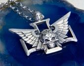 Skull Wings Airship Pilot Wings Steampunk Pilot Wings Handcrafted Cosplay Rank Badge Insignia 40k Space mariner Black Templars