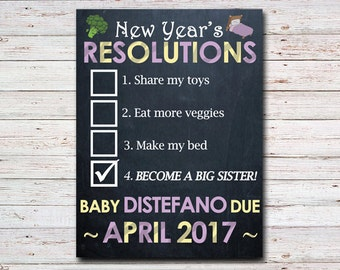 Big Brother or Sister Pregnancy Baby Announcement, New Years Resolution, Printable Art, Personalized Winter Chalkboard Sign, Made to Order