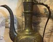 Antique Middle Eastern Arabic Brass Dallah Coffee Pot Pitcher Signed PJ858. Use CDTMARCH for 15 Off