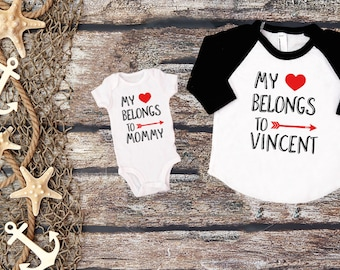 My heart Belongs to Mommy Valentines Outfits Custom Mommy and Me  Shirts Matching Valentines Mommy and Me Outfit Announcement Shirt Pregnancy 530aba3426c2