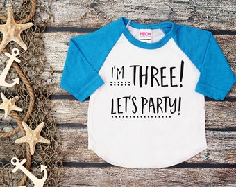 Im Three Lets PartyBoys Birthday3 BirthdayThreeThree Birthday Shirt Boy Baseball ShirtRed Shirt3rd