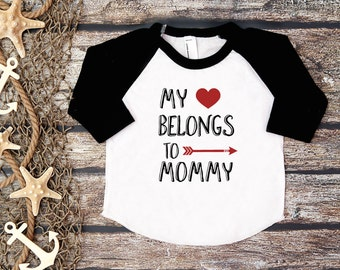 My Heart Belongs to Mommy Tee;Mother's Day Tee;First Mother's Day Shirt;1. Mother's Day Tee;Mommy and Me Tee;Kids Hipster Mother's Day