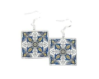 Portuguese jewelry Portuguese jewelry Portugal blue azulejos mom gift Portuguese tiles stud earrings azulejo earrings Portuguee gifts