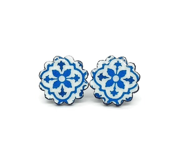 Portuguese Tiles Lisboa Shop Portugal Jewelry EARRINGS Original Antique Wedding Gifts Azulejo Long Tassel Souvenirs from Portugal