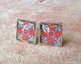 Girls Mexican earrings, small stud earrings, Mexican jewelry, Talavera tiles, Spanish tile earrings, red boho earrings, wedding earring gift