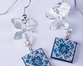 Blue Tile Earrings, Pastel enamel flowers, square earrings, Portuguese tiles earrings, Portugal, Portuguese souvenir, Portugal gift, tiles